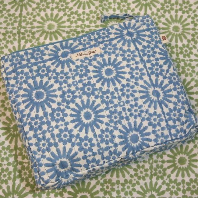 Quilted Cosmetics Pouch in Moroccan Sky Print