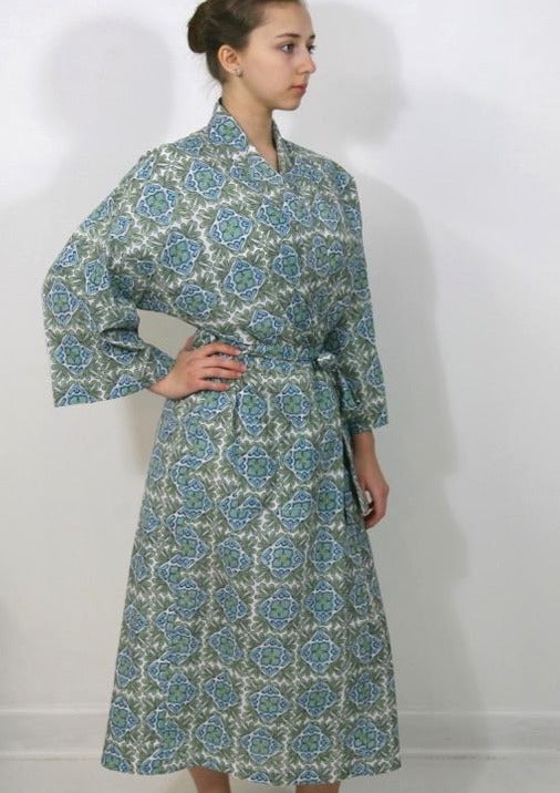 Kimono Robe in Moroccan Lotus Print in Greens