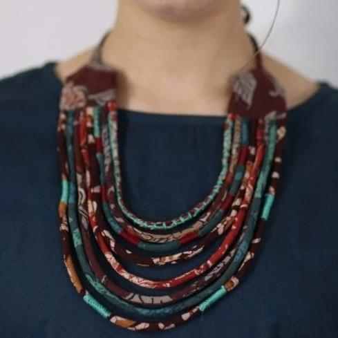 Upcycled Fabric Necklace with Tassel Ties in Earth Tones
