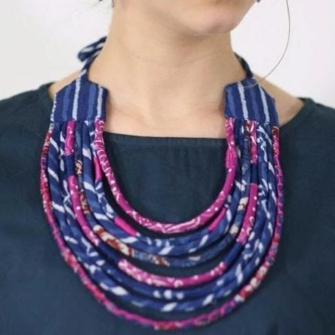 Upcycled Fabric Necklace with Tassel Ties - Indigo