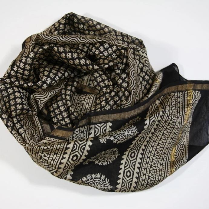 Scarf Wrap in Hand Block Printed Cotton Silk - Black Buti Print