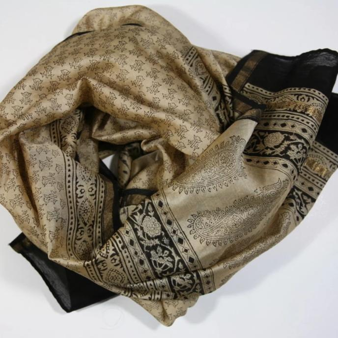 Scarf Wrap in Hand Block Printed Cotton Silk - Choti Buti Print