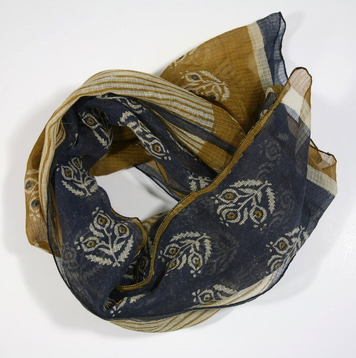 Scarf  in Hand Block Printed Cotton  - Earth Tones