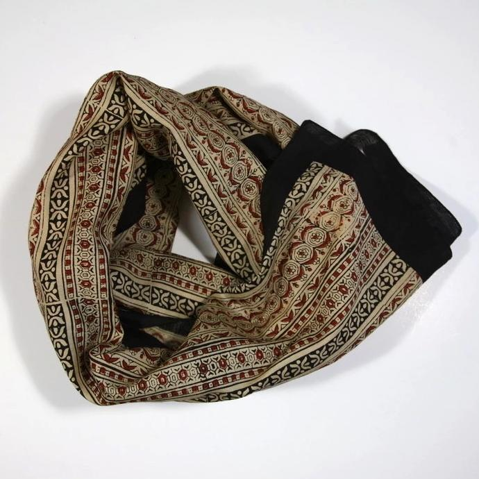 Scarf in Hand Block Printed Cotton Silk - Lines Print