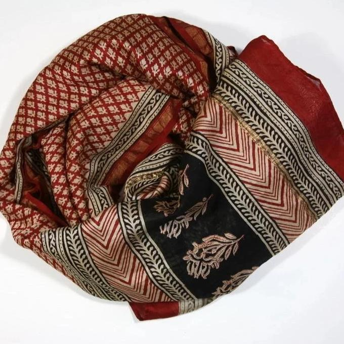 Scarf Wrap in Hand Block Printed Cotton Silk - Red Buti Print