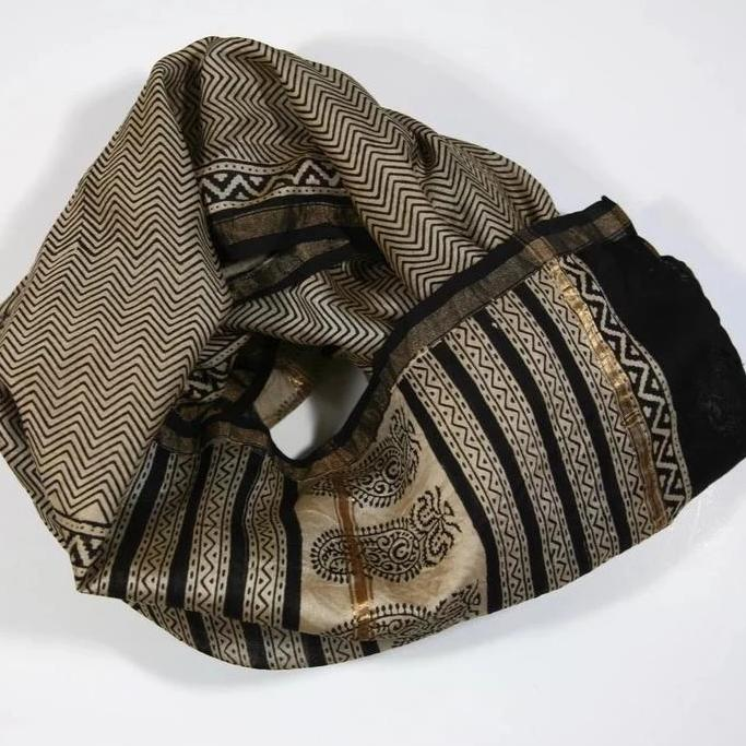 Scarf Wrap in Hand Block Printed Cotton Silk - Zig Zag Print