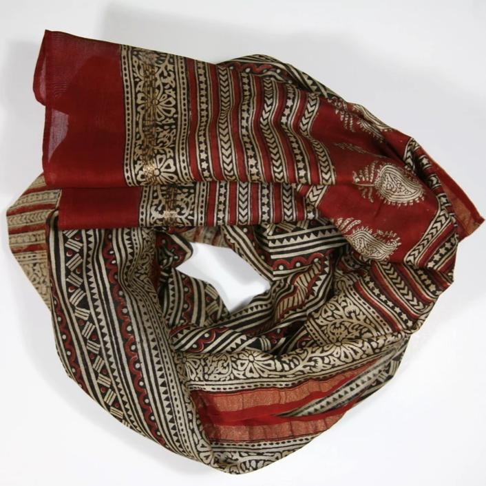 Scarf Wrap in Hand Block Printed Cotton Silk - Red Line Print