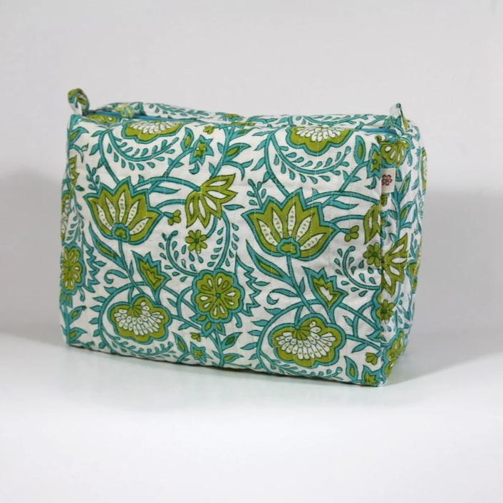 Travel Bag in Java Garden Hand Block Print