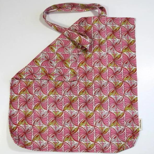 Book Bag in Hand Block Print - Pink Squares