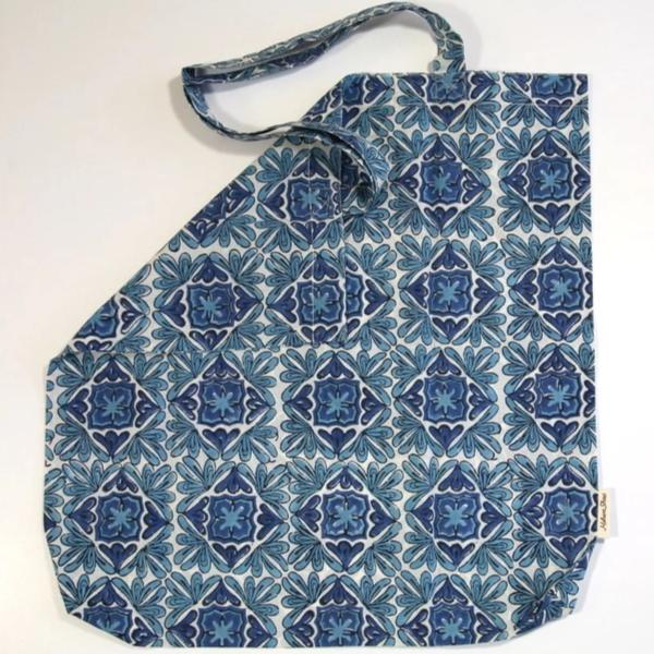 Book Bag in Hand Block Print - Moroccan Lotus Print