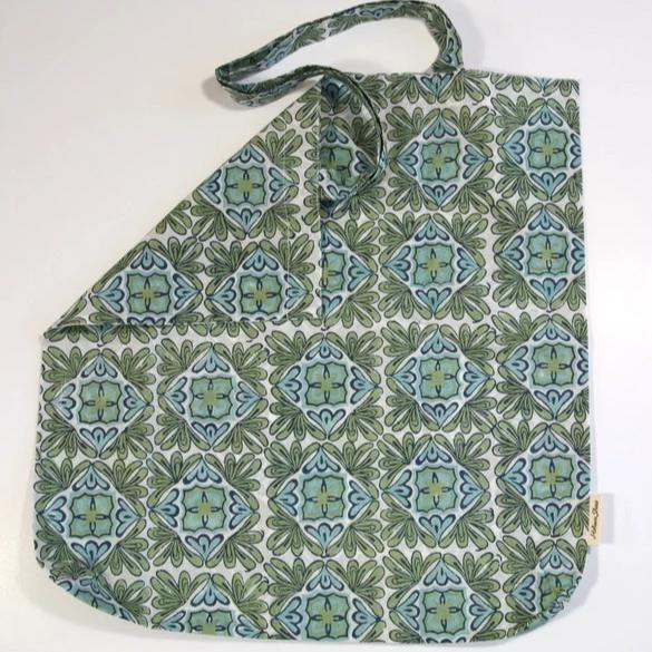 Book Bag in Hand Block Print - Lotus Turquoise Print
