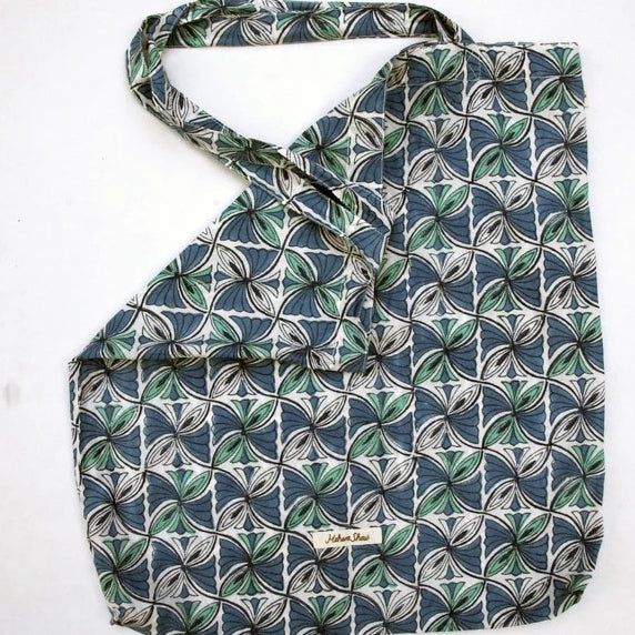Book Bag in Hand Block Print - Blue Squares Print
