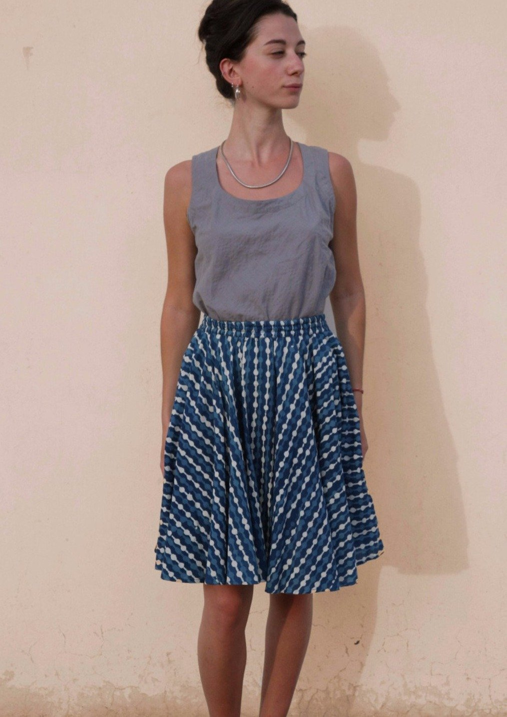 Circle Skirt in Indigo Print