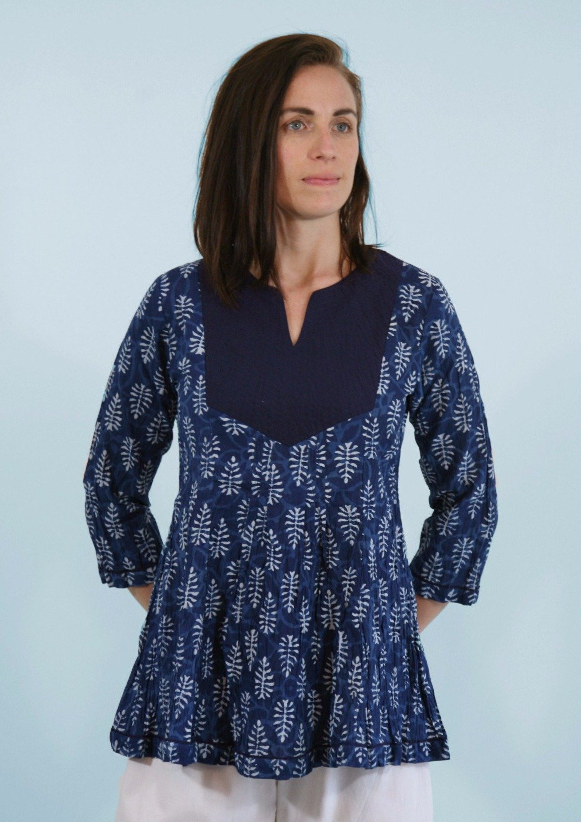 Crinkle Tunic Top in Indigo Block Print