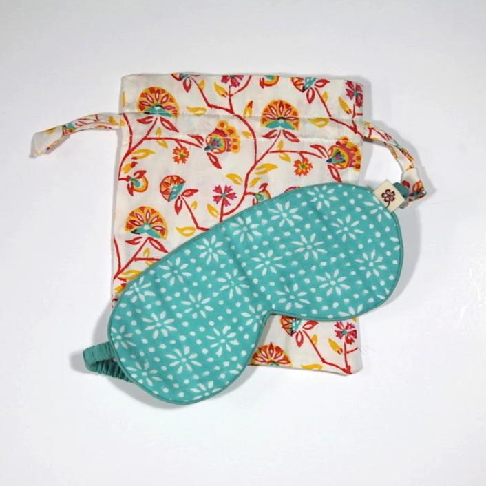 Eyemask in Hand Block Stardust Turquoise print in organic cotton