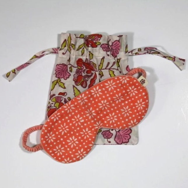 Eyemask in Hand Block Stardust Peach print in organic cotton