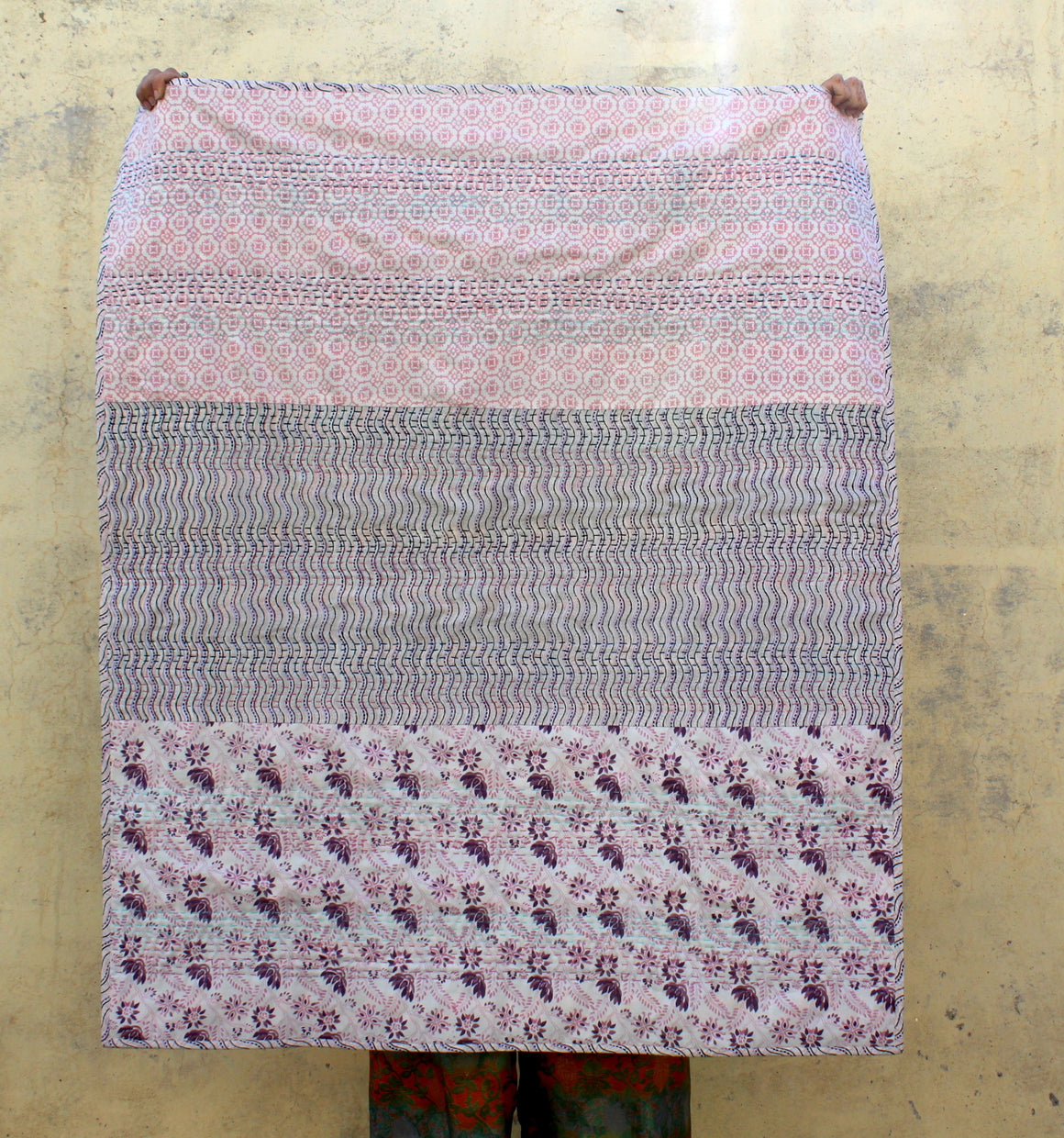 Kantha Stitch Upcycled Couch Throw in Pinks