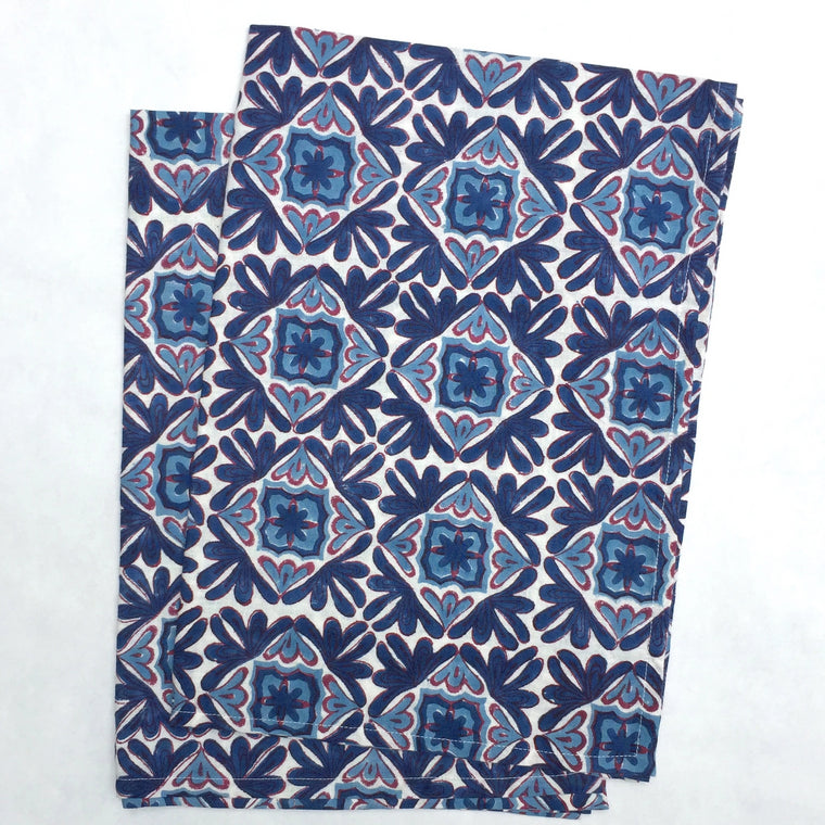 Kitchen Towels in Hand Block Printed Organic Cotton - Moroccan Lotus Print