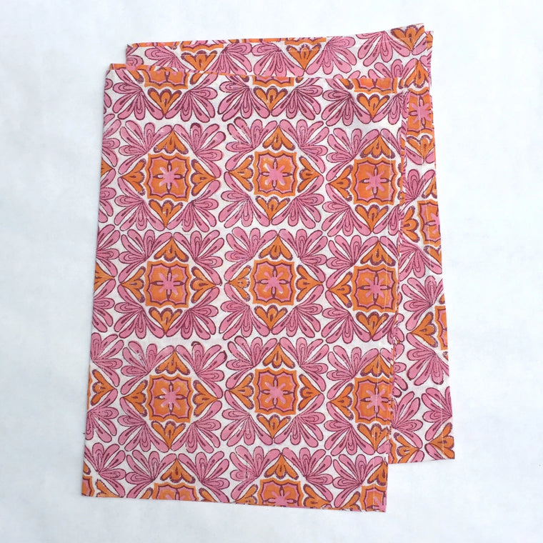 Kitchen Towels in Block Printed Organic Cotton - Moroccan Berry Print