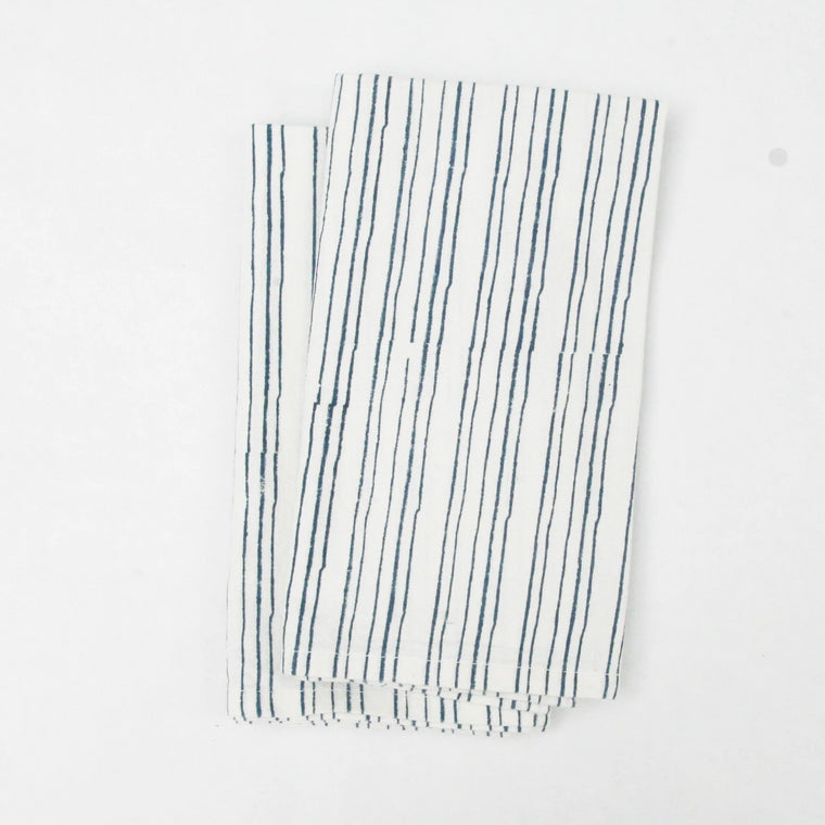 Napkin Set in Hand Block Organic Cotton - Blue Stripes Print