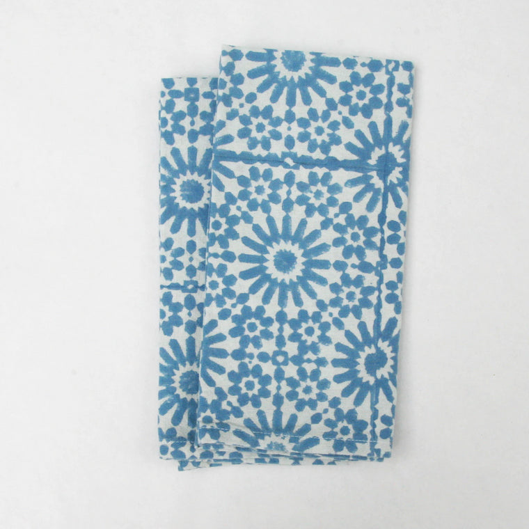 Napkin Set in Block Printed Moroccan Sky Tile Print