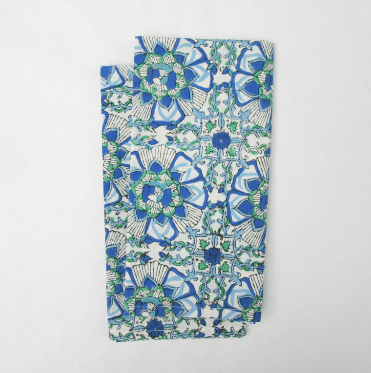 Napkin Set in Block Printed in Mosaic Lotus Print