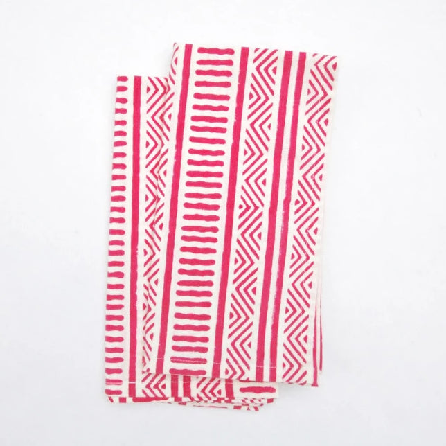 Napkin Set in Hand Block Organic Cotton - Kediri Stripes Print
