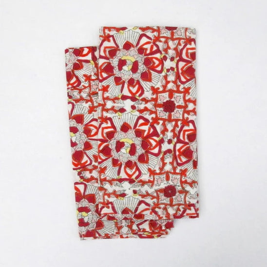 Napkin Set in Block Printed Organic Cotton - Festive Lotus Print