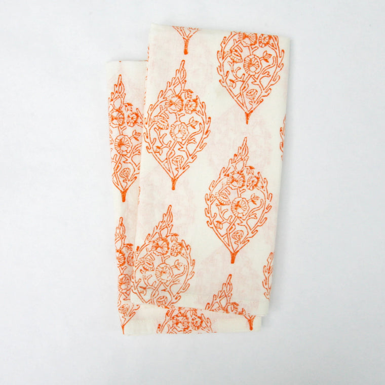 Napkin Set in Hand Block Printed Organic Cotton - Tangerine Paisley Print