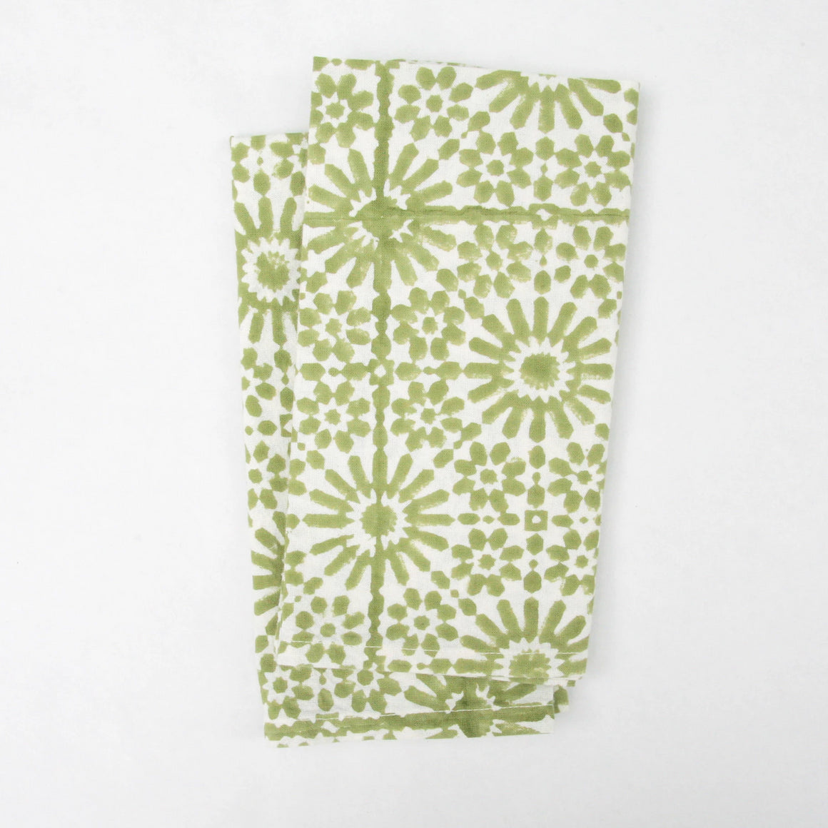 Napkin Set in Block Printed Moroccan Sage Tile Print