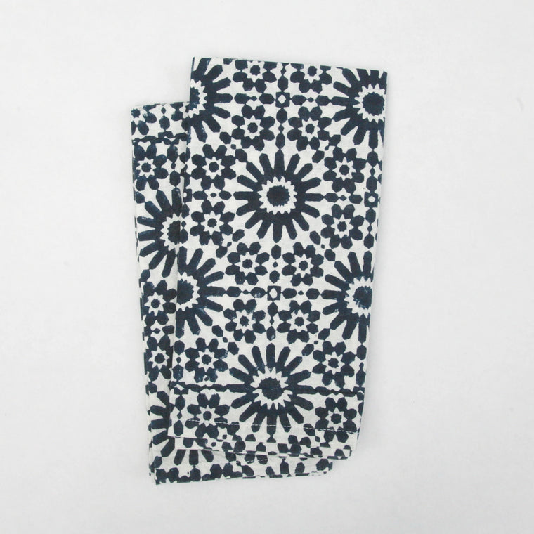 Napkin Set in Block Printed Organic Cotton - Moroccan Tile Print