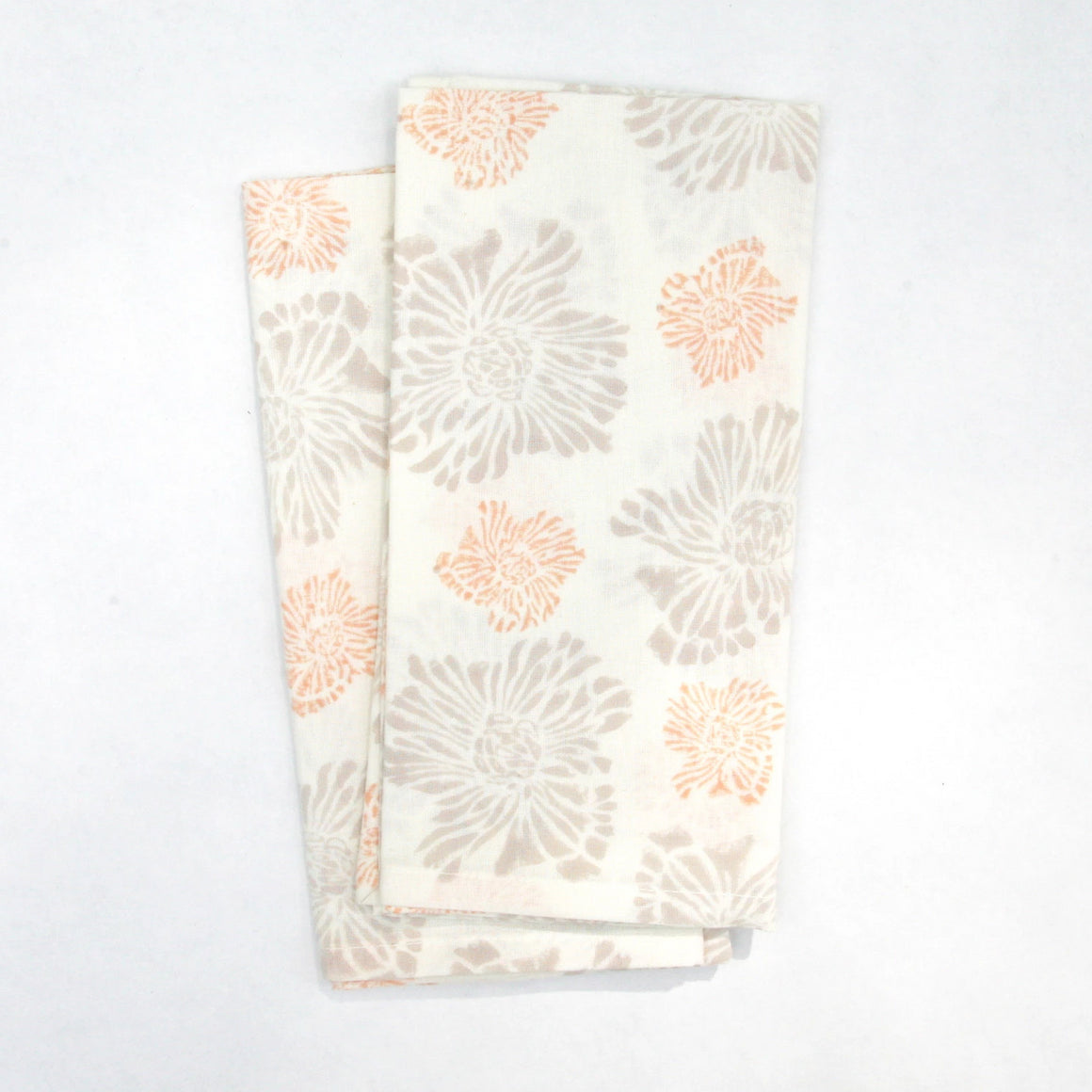 Napkin Set in Hand Block Printed Organic Cotton - Evening Chrysanthemum Print