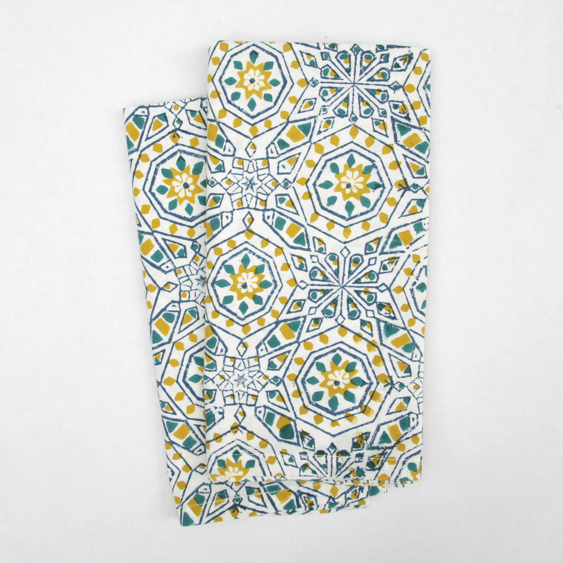 Napkin Set in Hand Block Printed Organic Cotton - Marbella Print