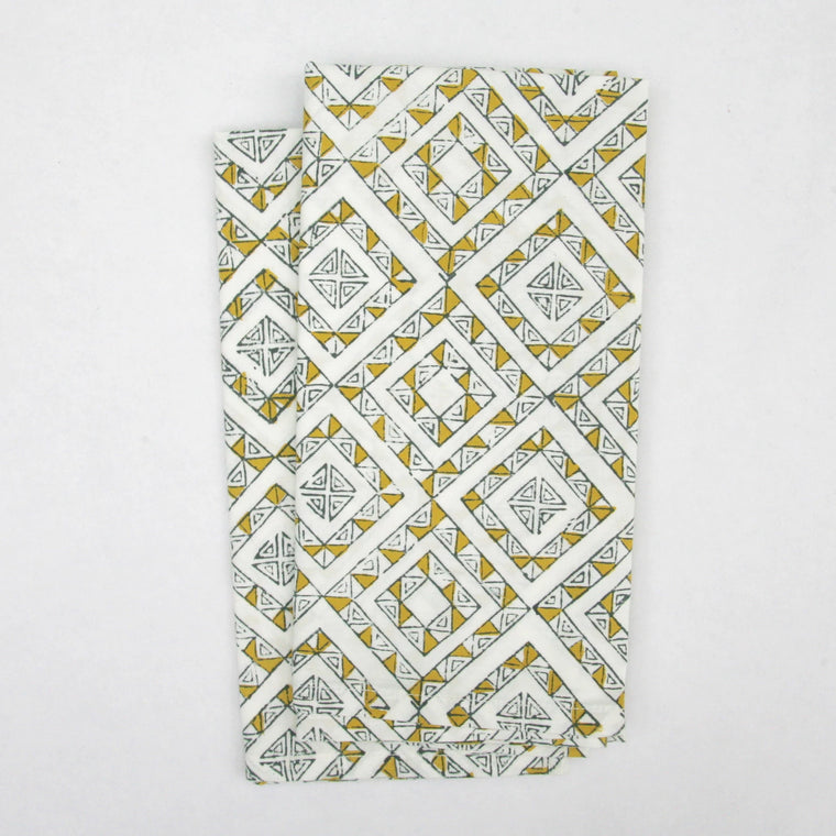 Napkin Set in Block Printed Organic Cotton - Ibiza Print