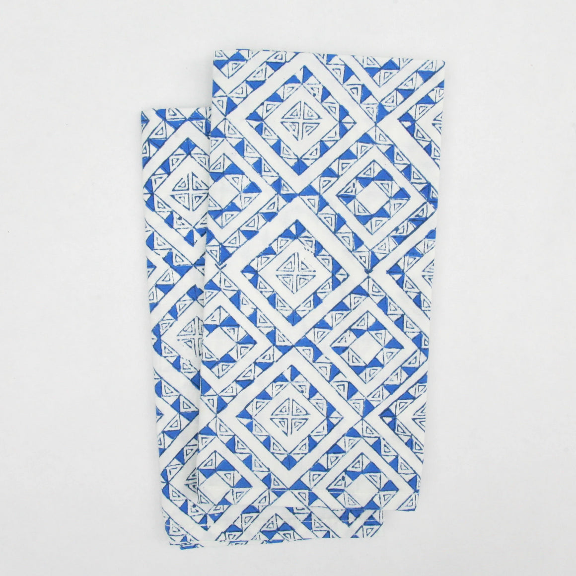 Napkin Set in Block Printed Organic Cotton - Ibiza Blues Print