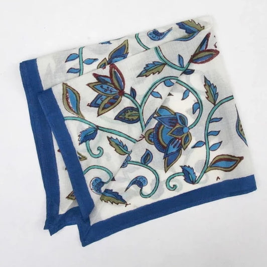 Handkerchief in Hand Block Print - Nambour Blues