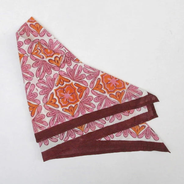 Handkerchief in Hand Block Print - Lotus Pink