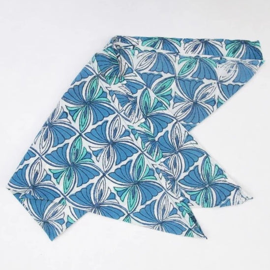 Handkerchief in Hand Block Print - Lotus Square