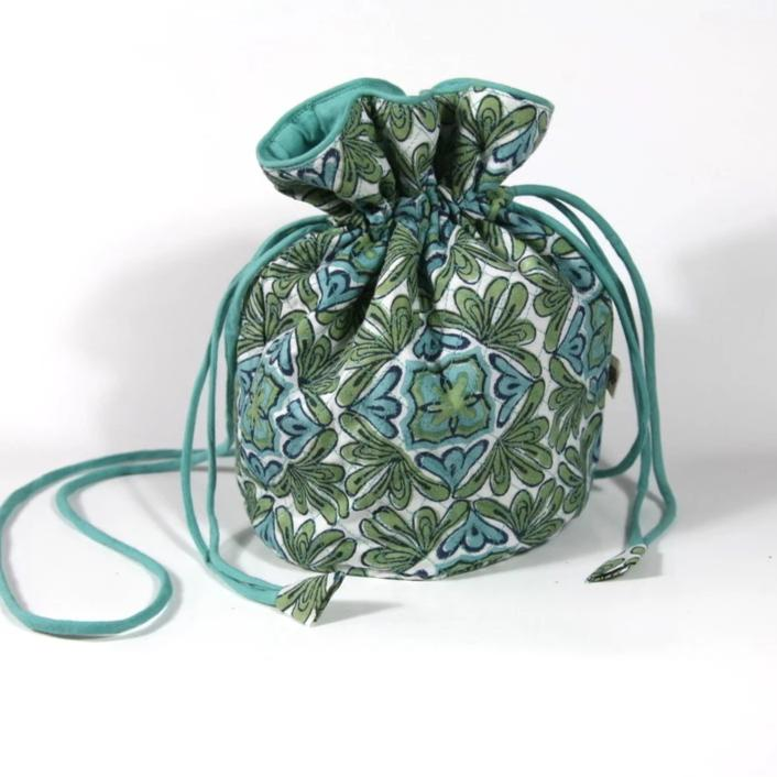 Quilted Potli Bag in Lotus Turquoise Hand Block Print