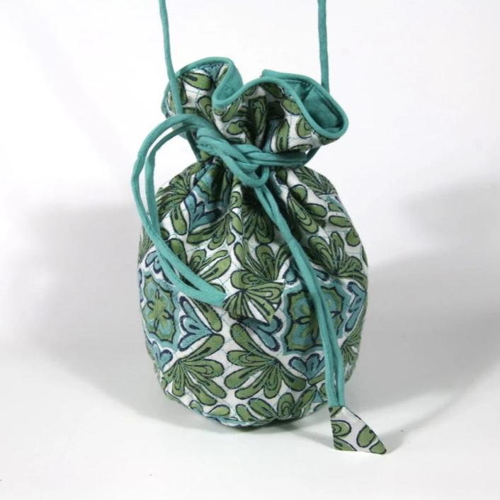 Quilted Potli Bag Mini in Lotus Turquoise Hand Block Print