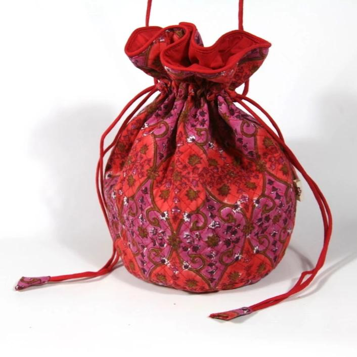 Quilted Potli Bag in Arabesque Hand Block Print