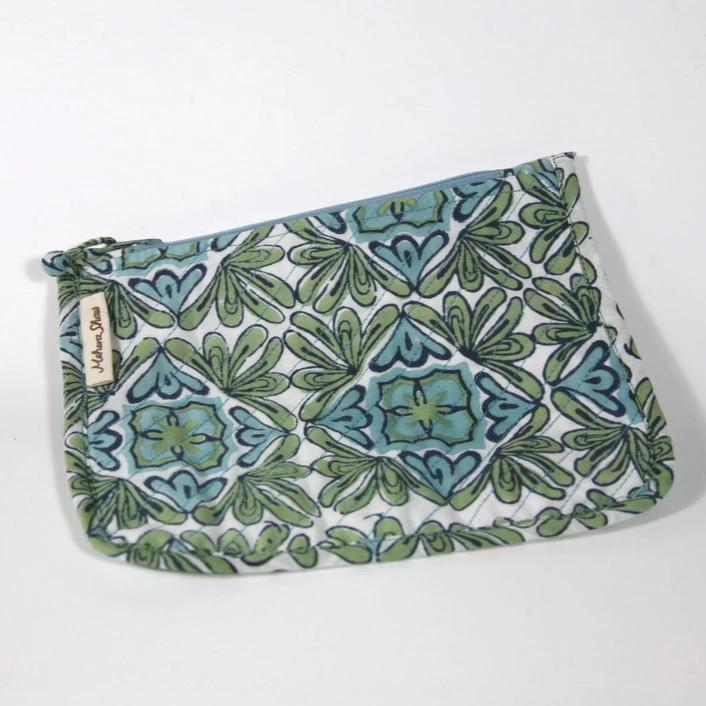 Chota Travel Bag in Lotus Turquoise Hand Block Print