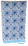 Scarf in Hand Block Printed Cotton Silk - Azulejo Print