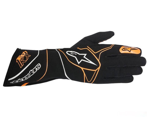 ALPINESTARS BLACK AND FLUORESCENT ORANGE TECH 1 - KX RACING GLOVES SFI 3.3 LEVEL 5 / FIA 8856-2000 - RK MOTORSPORTSPRO