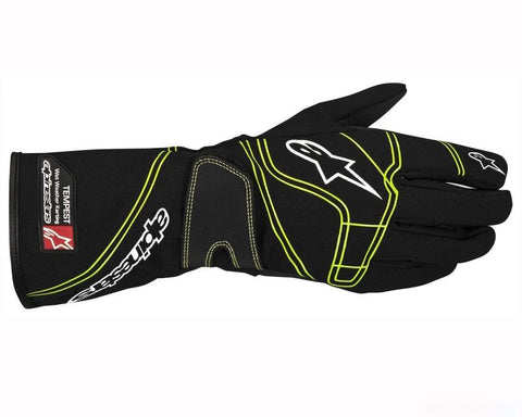 ALPINESTARS BLACK AND GREEN TEMPEST RACING GLOVES SFI 3.3 LEVEL 5/FIA 8856-2000 - RK MOTORSPORTSPRO