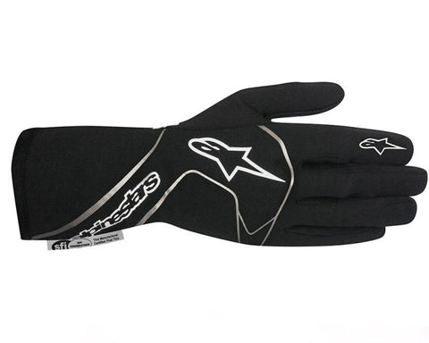 ALPINESTARS BLACK AND WHITE TECH 1 RACING GLOVES - RK MOTORSPORTSPRO