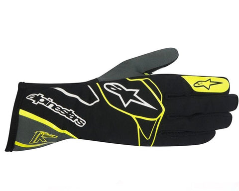 ALPINESTARS BLACK ANTHRACITE AND FLUORESCENT YELLOW TECH 1-K GLOVES SFI 3.3 LEVEL 5/FIA 8856-2000 - RK MOTORSPORTSPRO