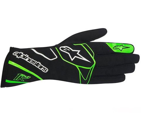ALPINESTARS BLACK AND FLUORESCENT GREEN TECH 1-K GLOVES SFI 3.3 LEVEL 5/FIA 8856-2000 - RK MOTORSPORTSPRO