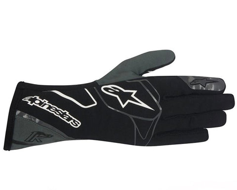 ALPINESTARS BLACK ANTHRACITE AND WHITE TECH 1-K GLOVES SFI 3.3 LEVEL 5/FIA 8856-2000 - RK MOTORSPORTSPRO