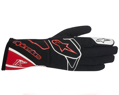 ALPINESTARS BLACK, RED AND WHITE TECH 1-K GLOVES SFI 3.3 LEVEL 5/FIA 8856-2000 - RK MOTORSPORTSPRO
